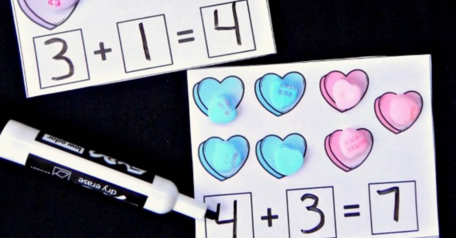 Candy Heart Addition Cards