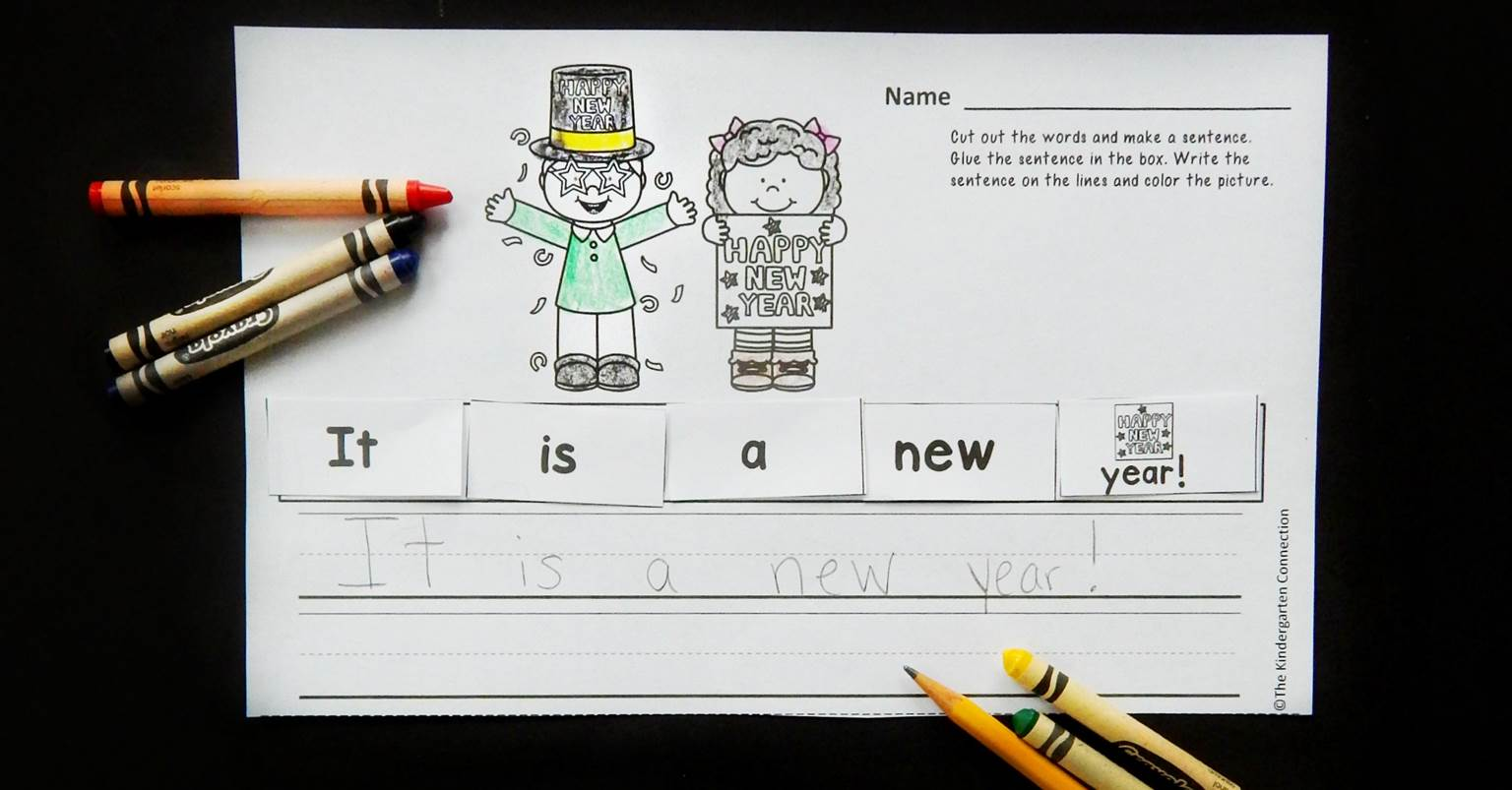 New Year S Cut And Paste Sentence Printable Activity