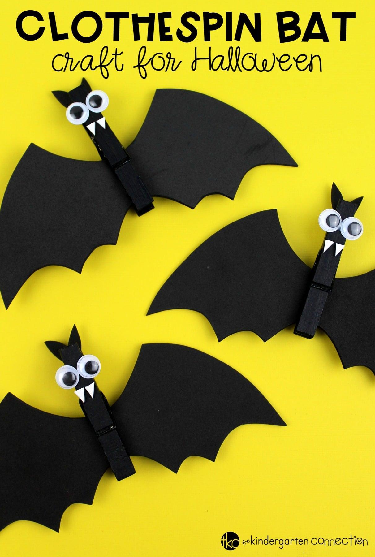 Cute Clothespin Bat Craft For Halloween