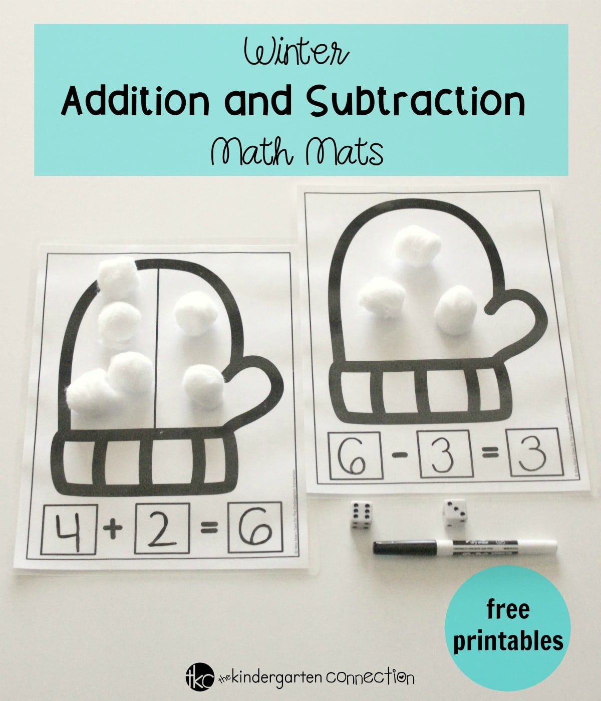 Addition And Subtraction Winter Math Mats
