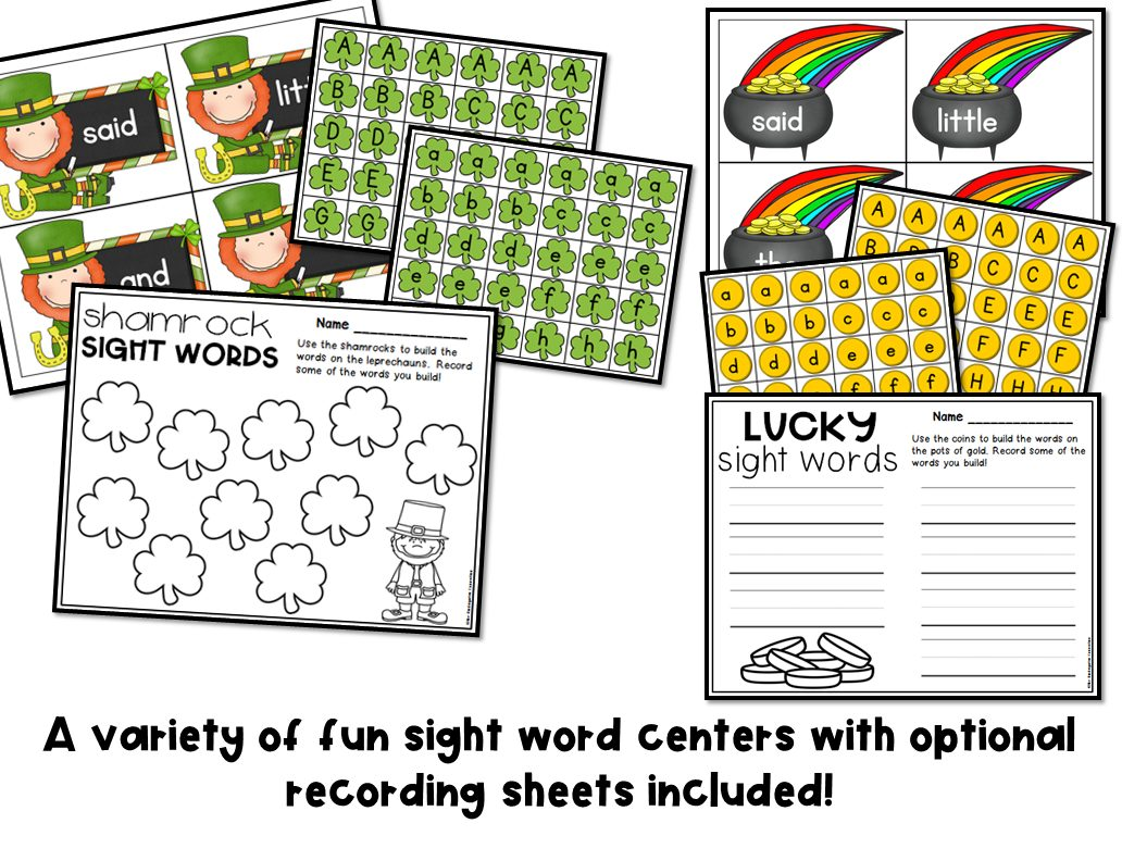 March Sight Word Games And Centers
