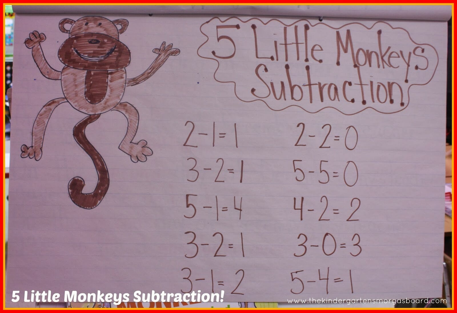 A Kindergarten Smorgasboard Monkey Subtraction Lesson And