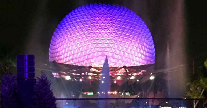 Spaceship Earth at Night   Epcot   Walt Disney World in Orlando, Florida