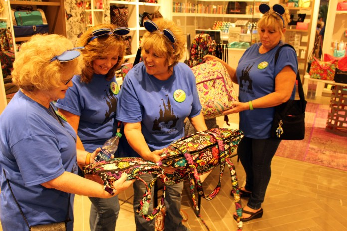 The Golden Grammas enjoyed an afternoon of shopping in Disney Springs. Here they are at the Vera Bradley store.