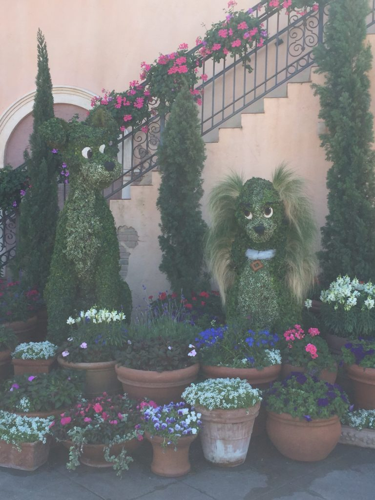 Lady and the Tramp topiary from the Epcot International Flower and Garden Festival. Located in the Italy Pavilion in the Epcot World Showcase. (Photo: Lucy-Kate Corker)