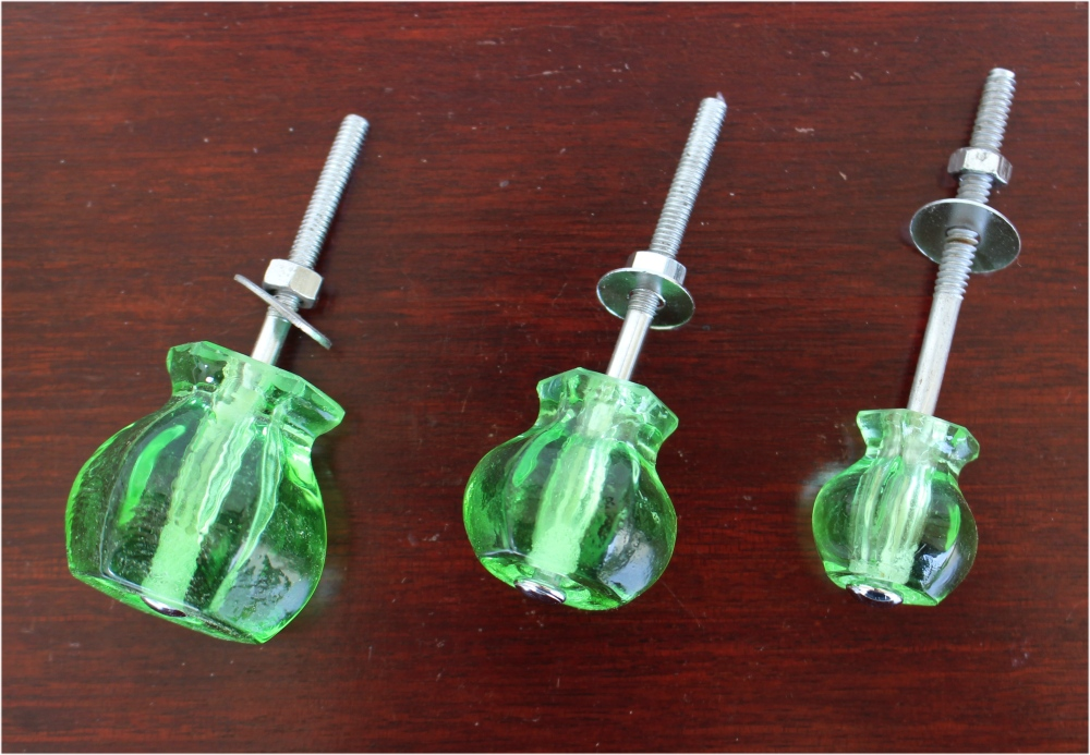 "1"" GREEN Glass Cabinet Knobs Pulls Vintage Dresser Drawer"