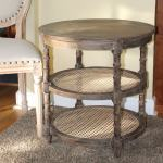Three Tier Round Wood Side Table With Cane Rattan Country Farm Style The Kings Bay