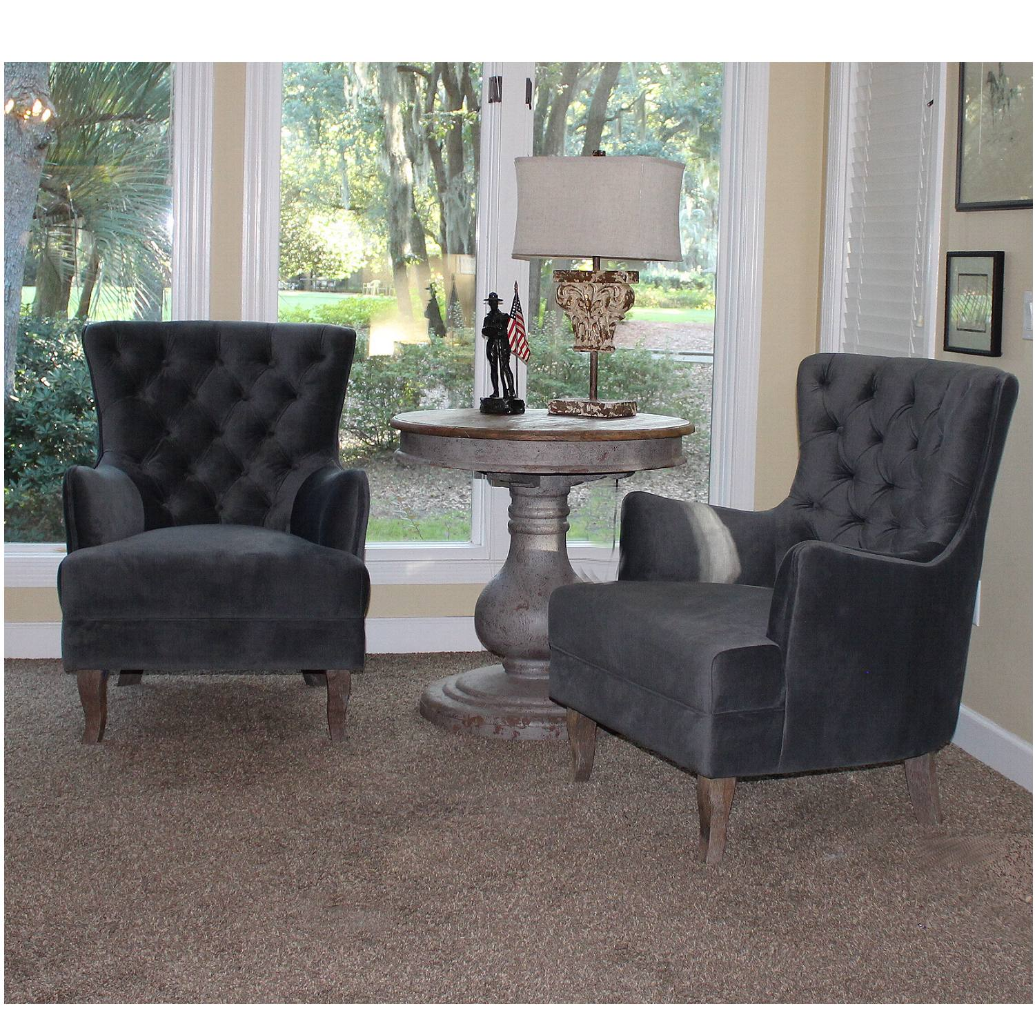 Arm Chairs In Blue Gray Satin Velvet Tufted Living Room Sold As Pair