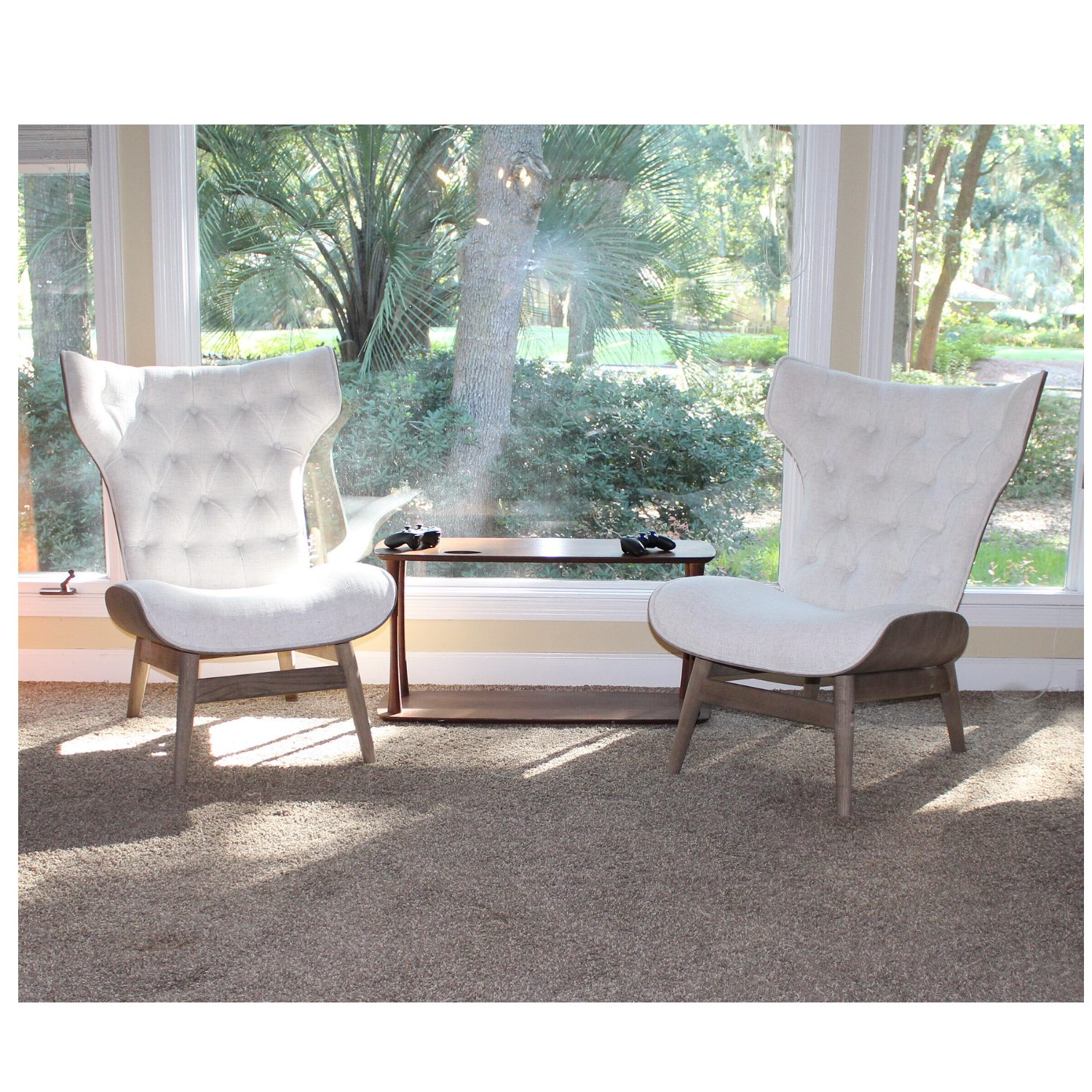 Mid Century Modern Chairs Baja Tufted Fabric And Natural Wood Sold As Pair The Kings Bay
