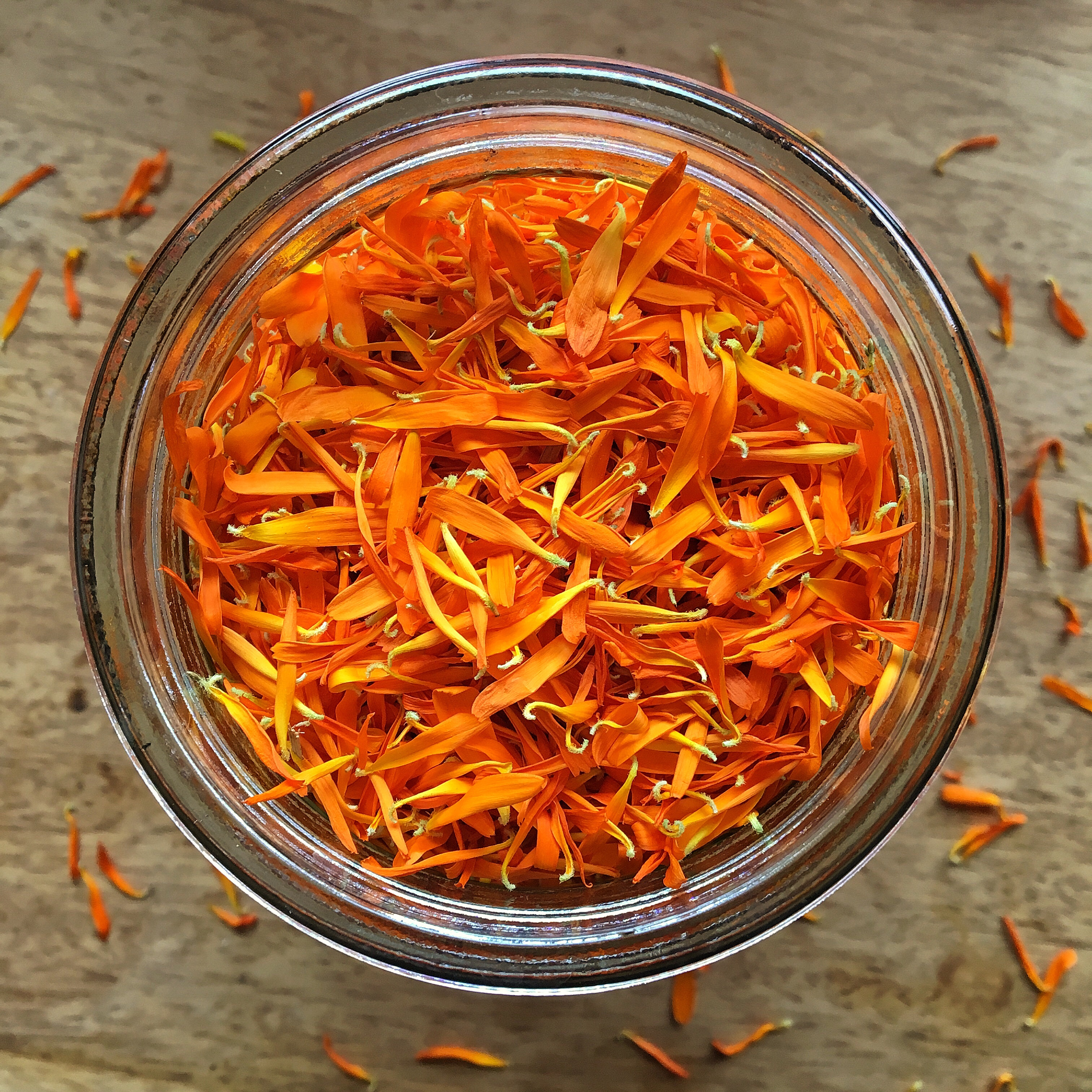 Dried calendula petals, easy to store and ready for use.