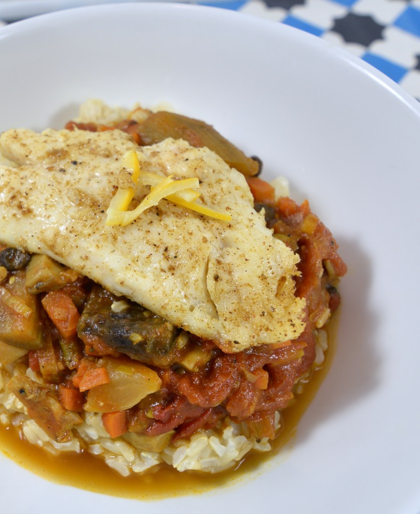 Pantry Meal of the Week: Curried Eggplant + Pan-Fried Snapper
