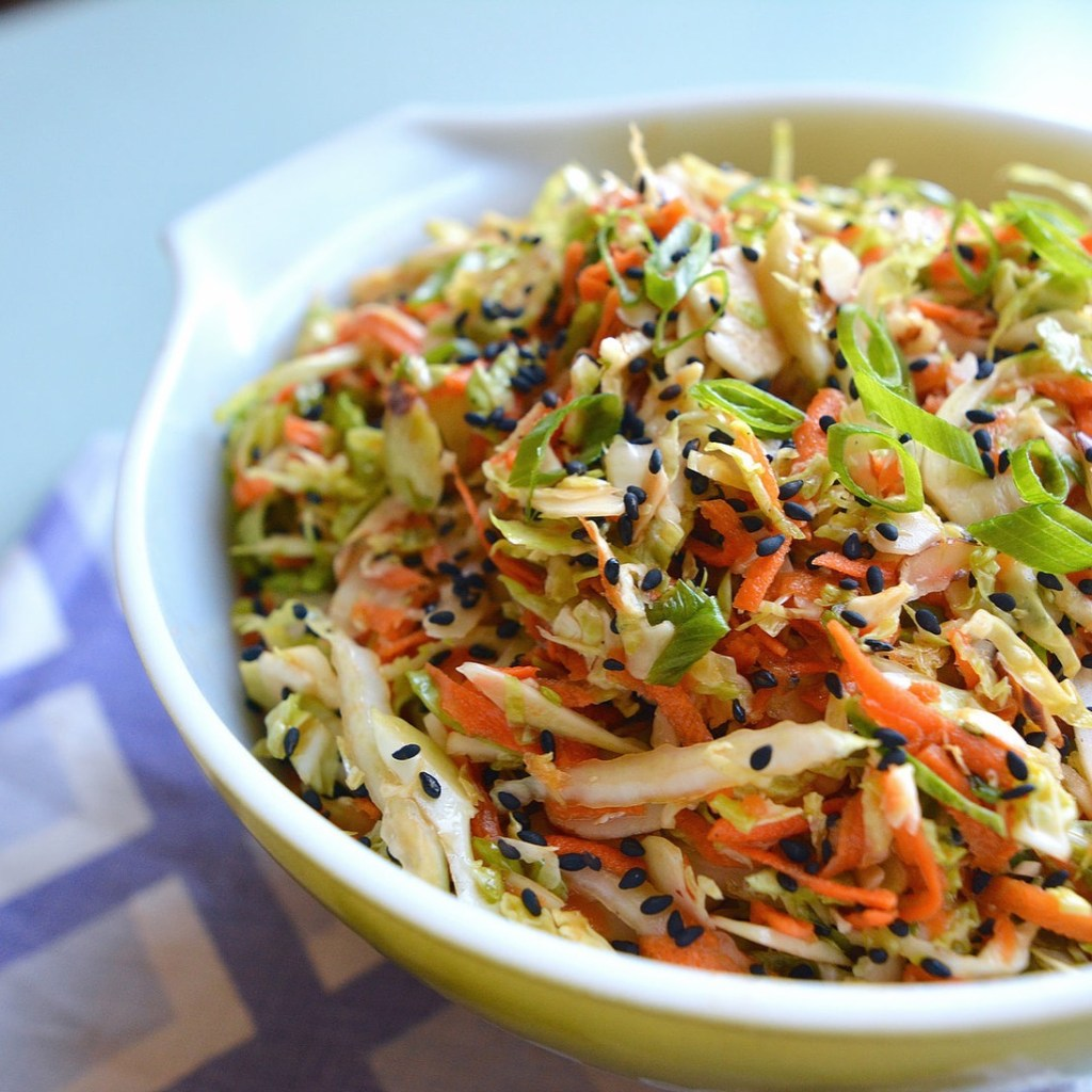 Asian Brussels Sprouts + Cabbage Slaw