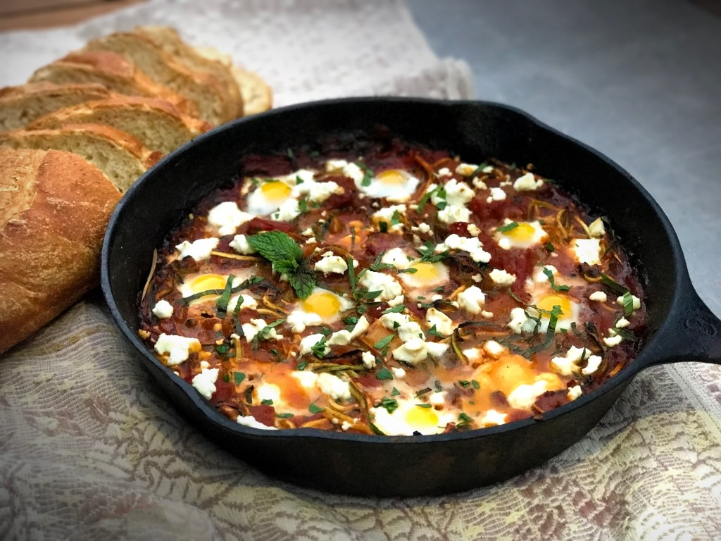 Quail Egg Shakshuka with Zoodles