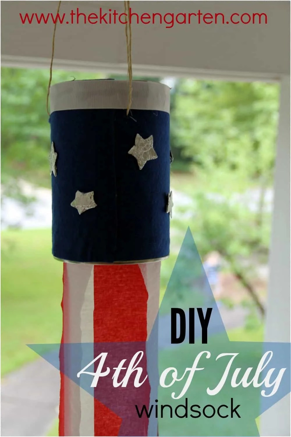 Create this DIY 4th of July windsock with recycled materials! It's perfect for kids and adults!