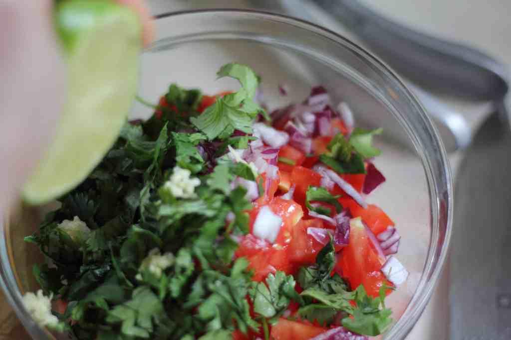 lime juice over salsa