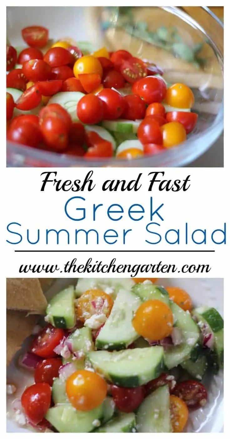 A quick and fresh Greek salad with summer cucumbers and tomatoes with a kick from chunks of tangy feta cheese. It's a simple crowd pleaser!