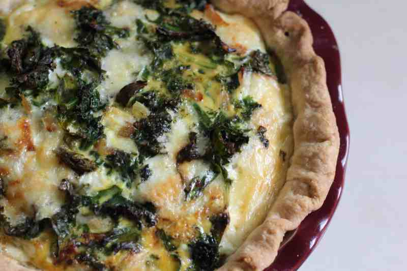 kale and havarti quiche top