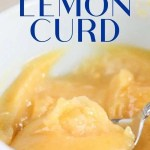 lemon curd in blue bowl