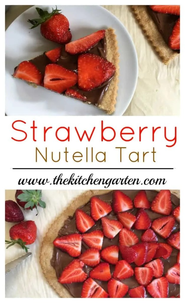 strawberry nutella tart sliced on white plate