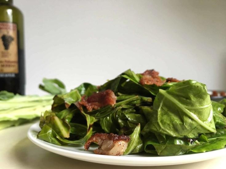 Balsamic Bacon Sautéed Collard Greens