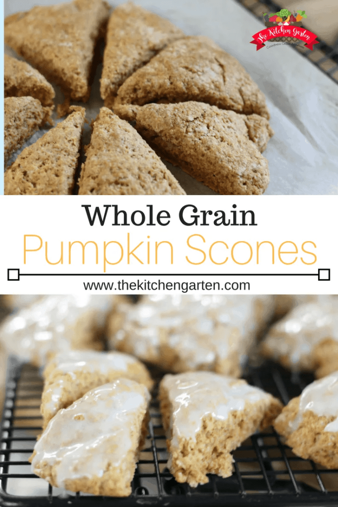 whole grain pumpkin scones with cinnamon glaze