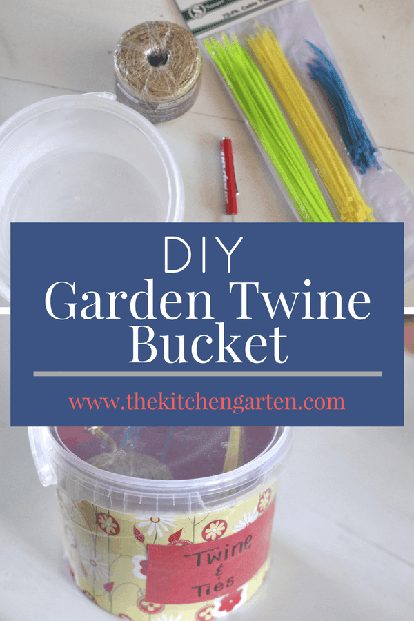 Create this easy DIY Garden Twine Bucket with what you may already have laying around the house. It is easy to carry to the garden and keeps dry the materials you use most! #repurpose #gardening #DIY