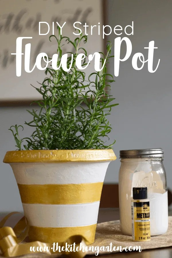 DIY Striped Flower Pot