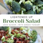 raw broccoli in glass bowl and bacon topped broccoli salad
