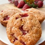 strawberry muffins on white plate