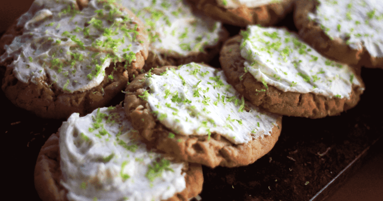 Lime and Sriracha Iced Peanut Butter Coconut Cookies
