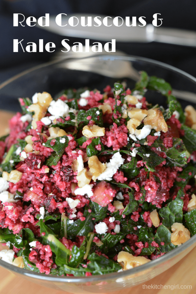 Red Couscous Kale Salad has roasted beets, kale, apples, walnuts, and feta cheese with a zesty dressing. It's vegetarian and GF friendly (just sub quinoa). thekitchengirl.com