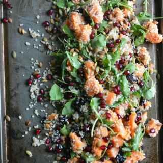 Autumn Quinoa Sweet Potato Arugula Salad