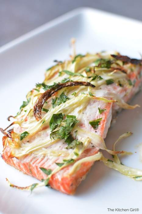 Broiled Fennel Salmon: For Weddings...or Weeknights takes 20-minutes to make! Treat yourself to this healthy, wild salmon delight. thekitchengirl.com