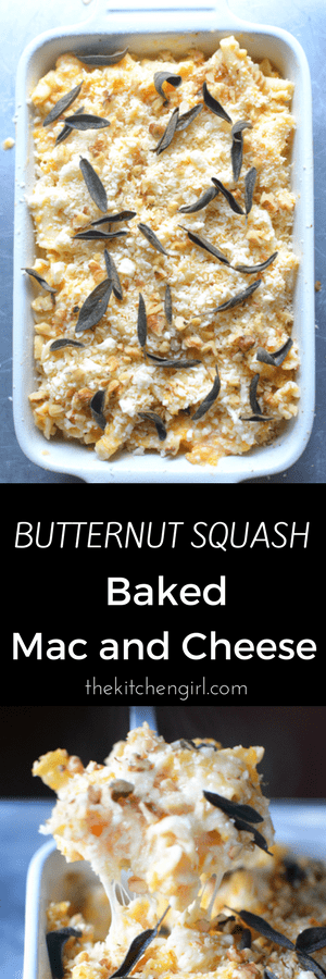 Lightened up Butternut Squash Baked Mac and Cheese made with 1% milk and less fat cream cheese. thekitchengirl.com #bakedmacandcheese #macncheese #butternutsquash #macandcheese