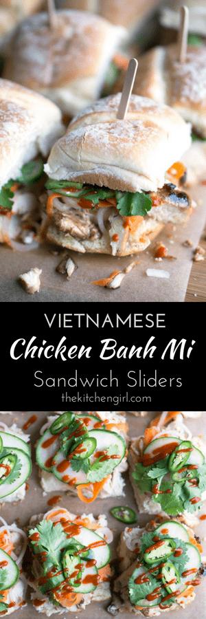 Vietnamese classic gone slider! Chicken Banh Mi Sandwich Sliders made with grilled chicken, pickled veggies, cucumber, cilantro, jalapeno, mayo, and Sriracha. #banhmi #vietnamese #partyfood #gameday #sliders #grilledchicken