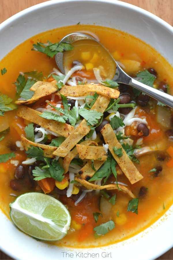 easy chicken tortilla soup made with rotisserie chicken tomatoesblack beans corn - Kitchen Chicken