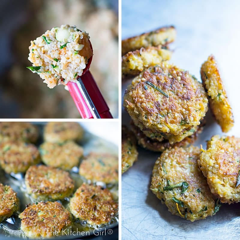 Save money AND feed a crowd with zucchini, carrots, and quinoa crabless cakes. Poor Man's Crab Cakes are secretly healthy! thekitchengirl.com