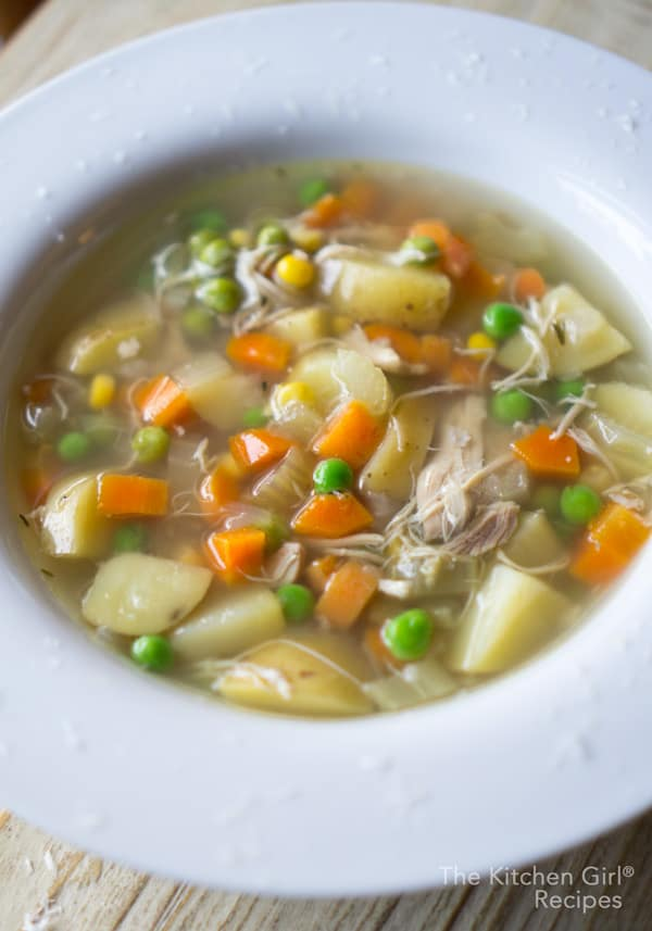 Chicken is never dry in this crockpot chicken soup, and there's plenty of vegetables. Toss and go slow cooker chicken soup with no pre-cooking! #chickenvegetable #chickensoup #glutenfree #dairyfree #crockpotsoup #slowcooker #weeknightmeal