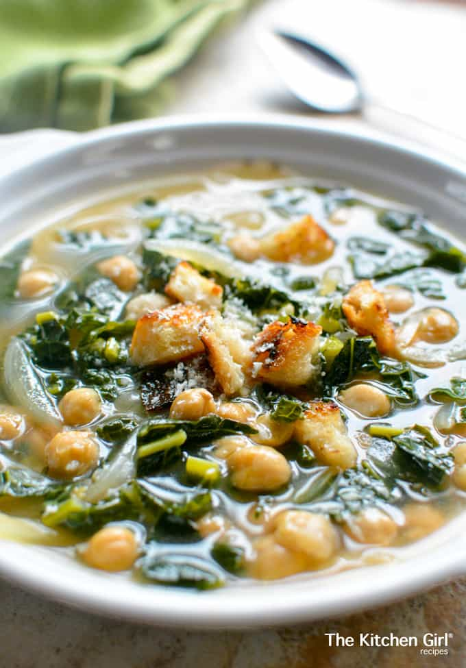 Healthy soup in 15 minutes?...YES! In-A-Hurry Kale Chickpea Soup is an easy, weeknight meal. thekitchengirl.com #vegan #glutenfree #healthysoup #vegansoup #healthyrecipe #vegetarian #soup #mealprep #mealplan #garbanzo#chickpeas #cannedchickpeas