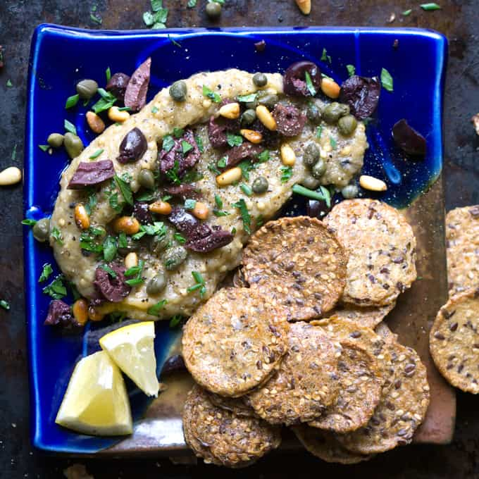 Party food that's GF, vegan, AND paleo! Loaded Greek Eggplant Dip at thekitchengirl.com Mediterranean #babaganoush #vegandip #paleoappetizer #paleodip #eggplantdip #notahini