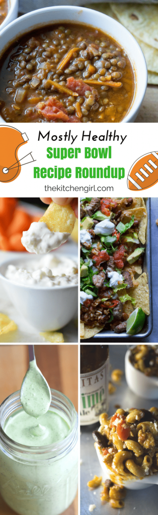 You won't be cheating too much on game day with my Mostly Healthy Super Bowl Recipe Roundup on thekitchengirl.com