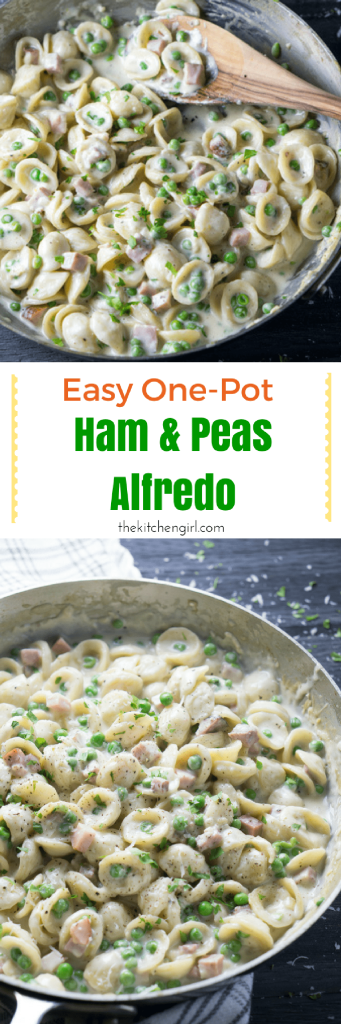 Turn cooked ham into a creamy, one pot alfredo in 20 minutes. One Pot Ham and Peas Alfredo is a minimalist cook's dream come true! Best holiday leftovers ever! thekitchengirl.com