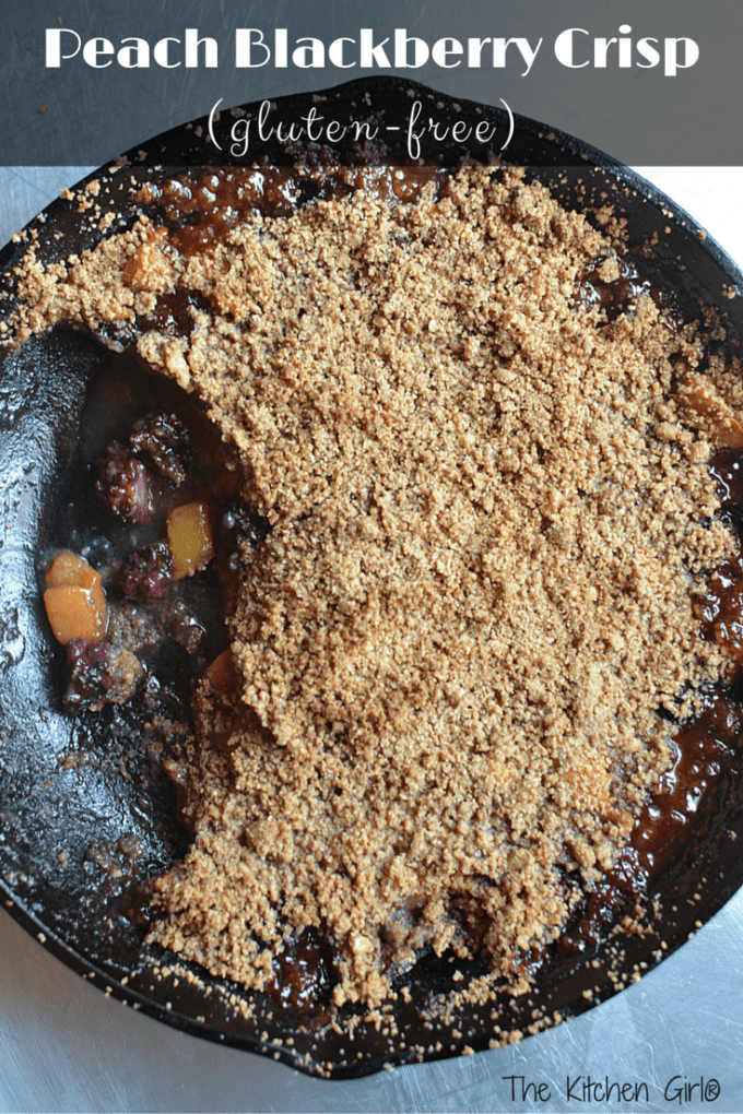 Gluten Free Peach Blackberry Crisp recipe. Naturally sweetened with honey and coconut sugar. Kid-friendly! Use apples, blackberries, blueberries, strawberries, rhubarb, or raspberries. thekitchengirl.com