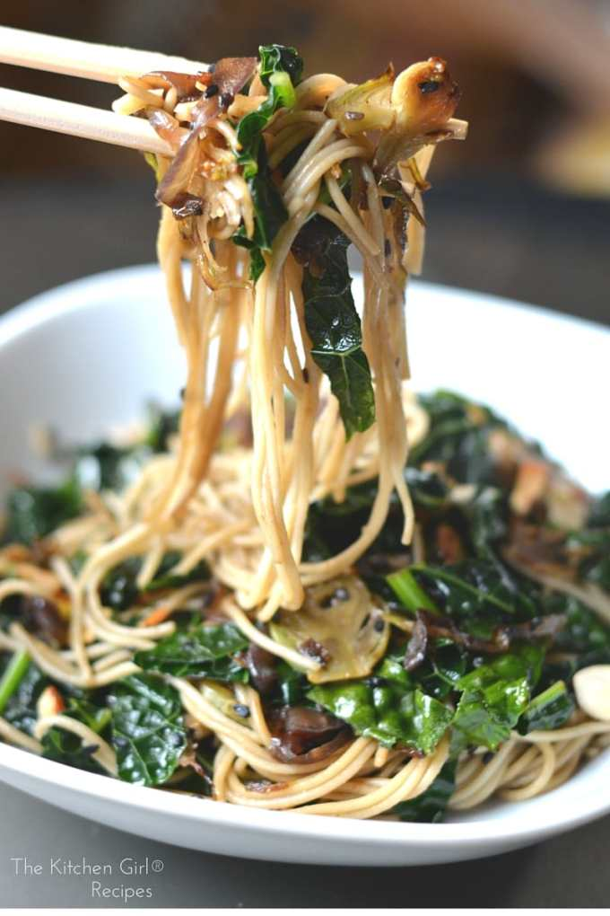 Best, last-minute meal! In 20 minutes, you have a secretly healthy, delish noodle dish! Vegan AND gluten-free. Sautéed Sesame Kale Noodles on thekitchengirl.com