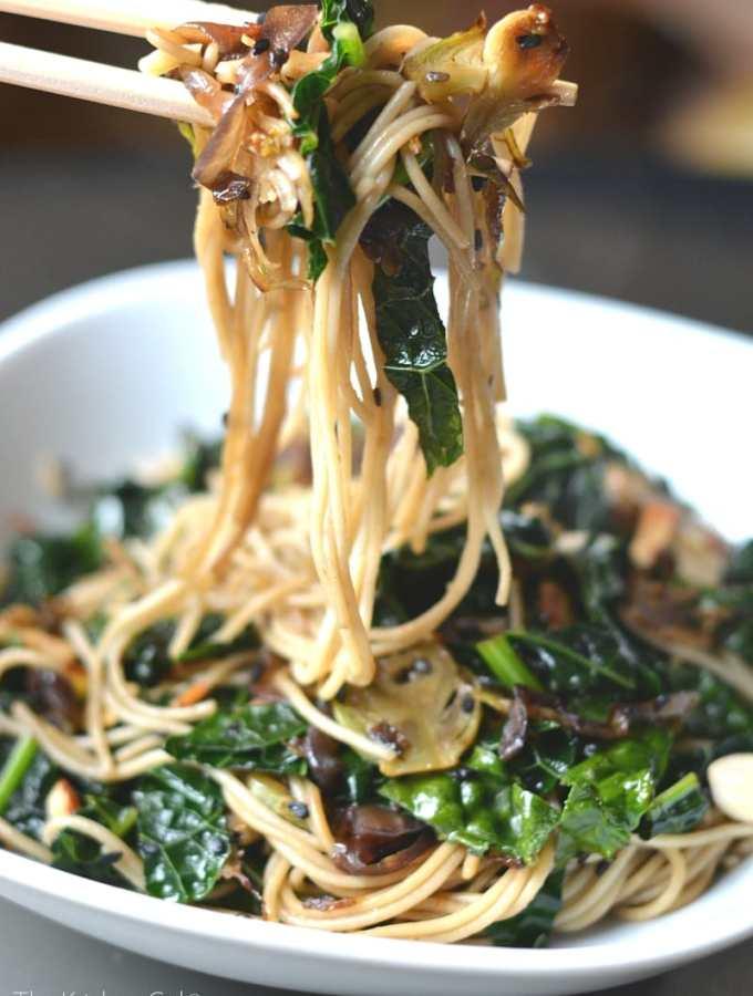 Sautéed Sesame Kale Noodles (20 min, Vegan, GF)