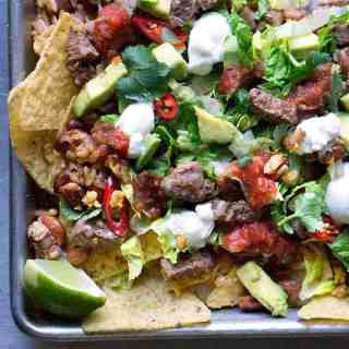 Sheet Pan Steak Salad Nachos