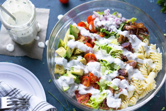 Blt Pasta Salad With Avocado And Greek Yogurt Ranch
