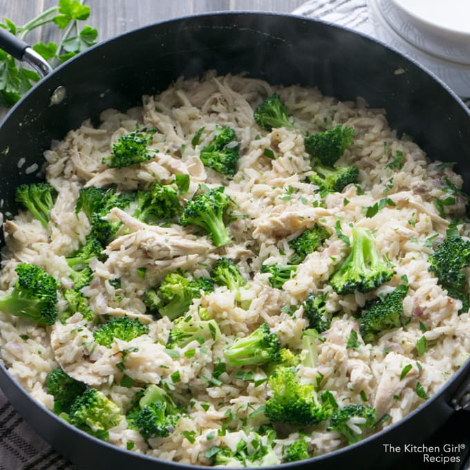 Skillet meal in 30! Lightened up comfort food for any season. Skinnyish Chicken Broccoli Rice. No cheese, but so creamy! thekitchengirl.com #skilletmeal #onepotmeal #30minutemeal #chickenandrice #broccoli #glutenfree