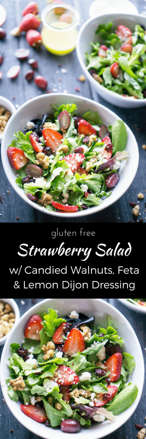 Strawberries, feta, candied walnuts, grapes, and dried cranberries make Strawberry Spring Salad a thirst quencher! thekitchengirl.com #strawberryrecipe #strawberrysalad #candiedwalnuts #springsalad #springmix #strawberries #candiedwalnuts