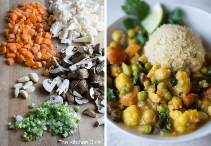 Easy vegan Thai comfort food in 30?…yes plz! Simple veggies, curry powder, and coconut milk. Vegan Thai Coconut Vegetable Curry thekitchengirl.com #vegan #curry #thaicoconut #skilletmeal #glutenfree
